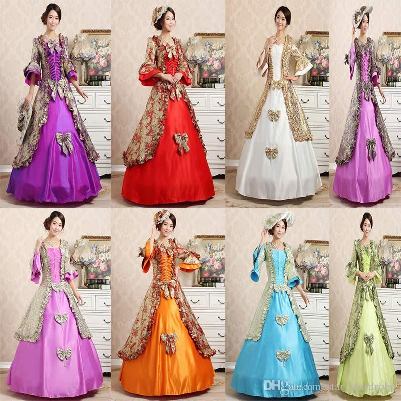 210769408516 Customized 2018 Autumn Royal Multicolour Square Collar Seven Sleeves  European Court Party Dress Vintage Lace Ruffle Masquerade Ball Gowns Long  Dresses Sale ...