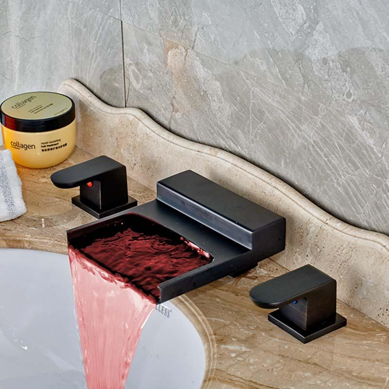 Led Color Changing Oil Rubbed Bronze Waterfall Bathroom Faucet - Bathroom colors with bronze fixtures