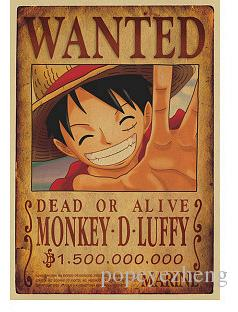 Acheter home decor stickers muraux vintage papier anime affiche one piece posters luffy wanted - Affiche one piece wanted ...