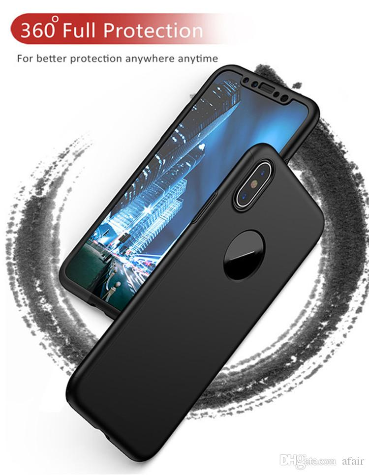 2018 360 Degree Ultra-thin Full Body Coverage hard PC Case back Cover with Tempered Glass Screen Protector For Iphone XS MAX XR X 8 7 6 plus