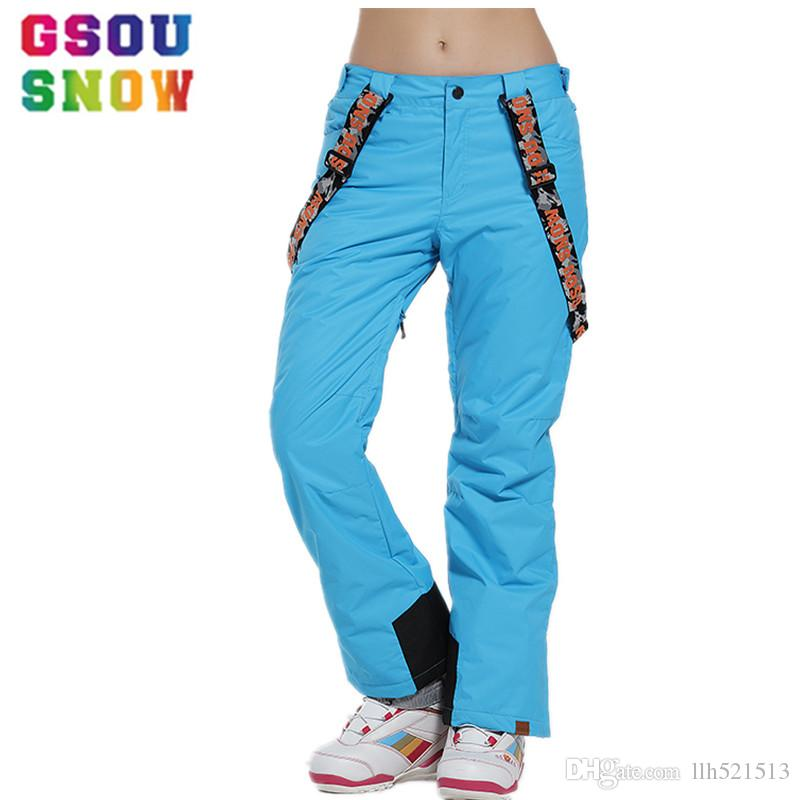 2019 Gsou Snow Brand Ski Pants Women Waterproof Snowboard Pants Breathable  Skis Trousers Winter Outdoor Sport Mountain Skiing Pants From Llh521513 550fa5723