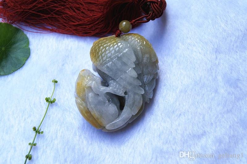 Beautiful natural nanyang unique jade, the whole carving of the eagle flying. Amulet necklace pendant, the world alone this one.