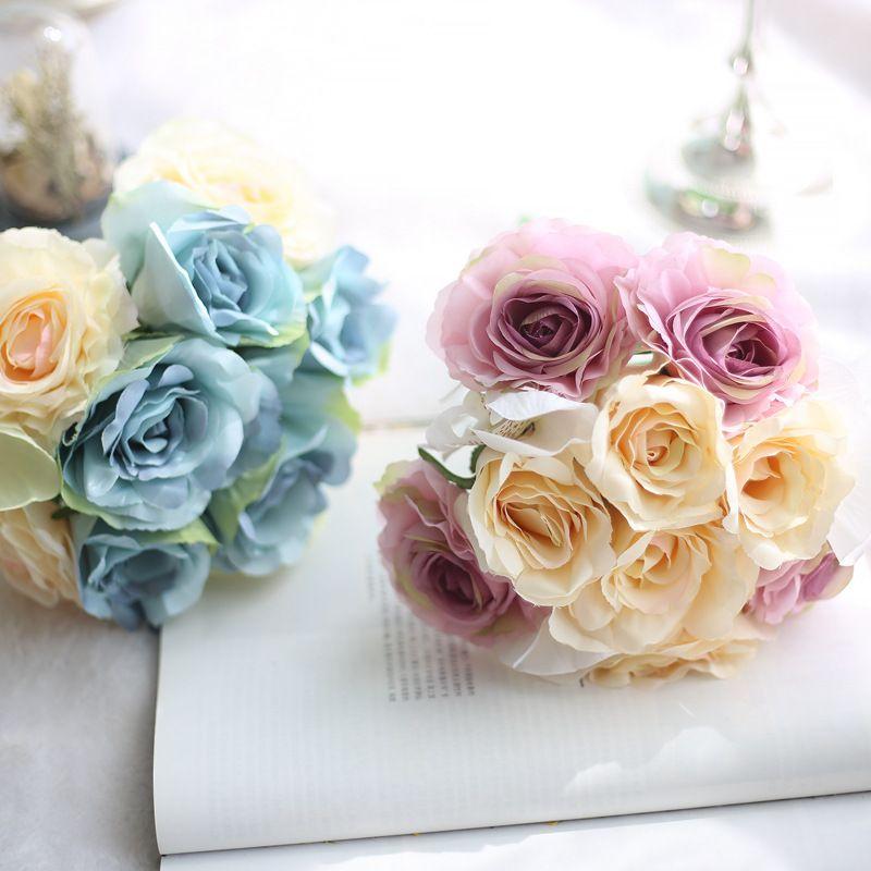 Bouquet Sposa Economico.Piu Economico Seta Rose Damigella D Onore Fiori Da Sposa Rose Bouquet Da Sposa Fake Wedding Bouquet De Noiva 2 Colore 22cm