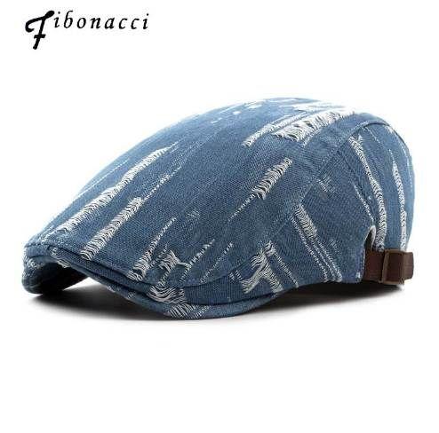632593082a2be Fibonacci Spring Summer Beret Women Denim Cotton Holes Do The Old ...