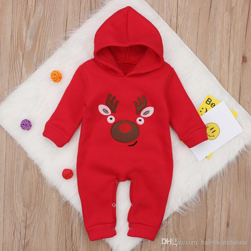 eb8f443c0fe 2019 2018 New Baby Clothes Christmas One Pieces Hooded Romper Jumpsuit  Toddler Infant Baby Girl Boy Santa Bloomers Playsuit Winter Thick Outfits  From ...