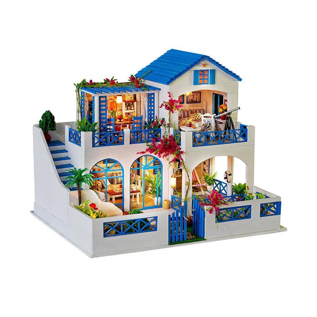 Big Villa Dollhouse Diy 3d Miniature Doll House Model Building Kits