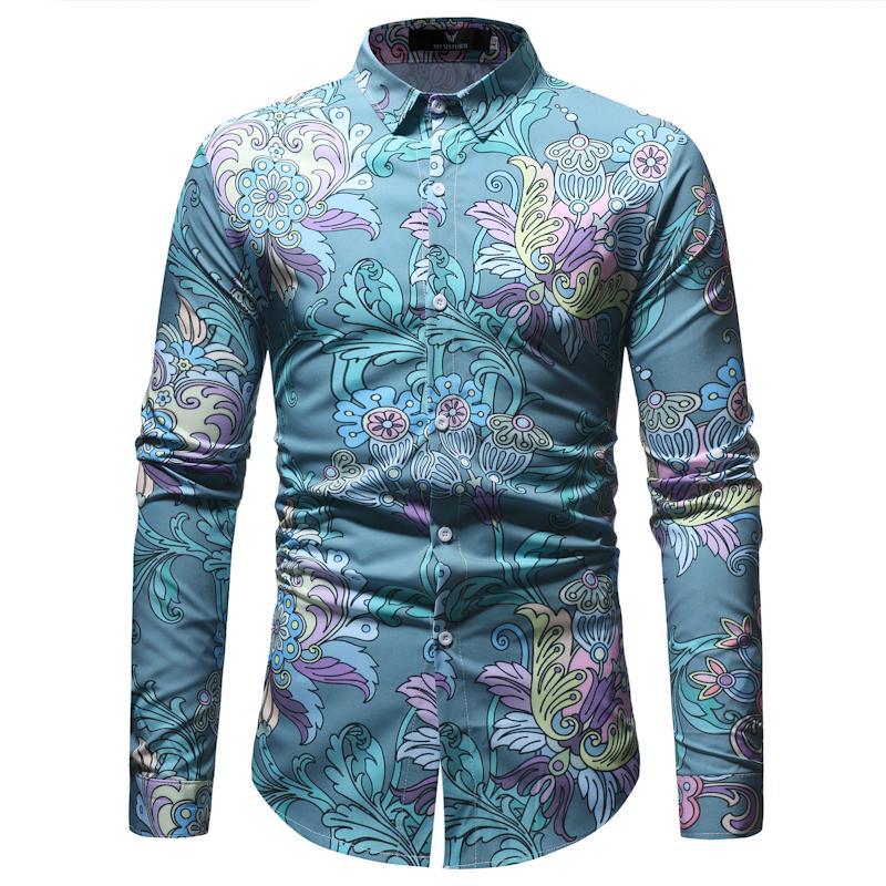 b8b5e3c1c Compre Camisa De Vestir De Manga Larga Con Estampado Floral De Manga Larga  Para Hombre Camisa Camisa Con Estilo Vintage De Camisa Vintage Para Hombre  A ...