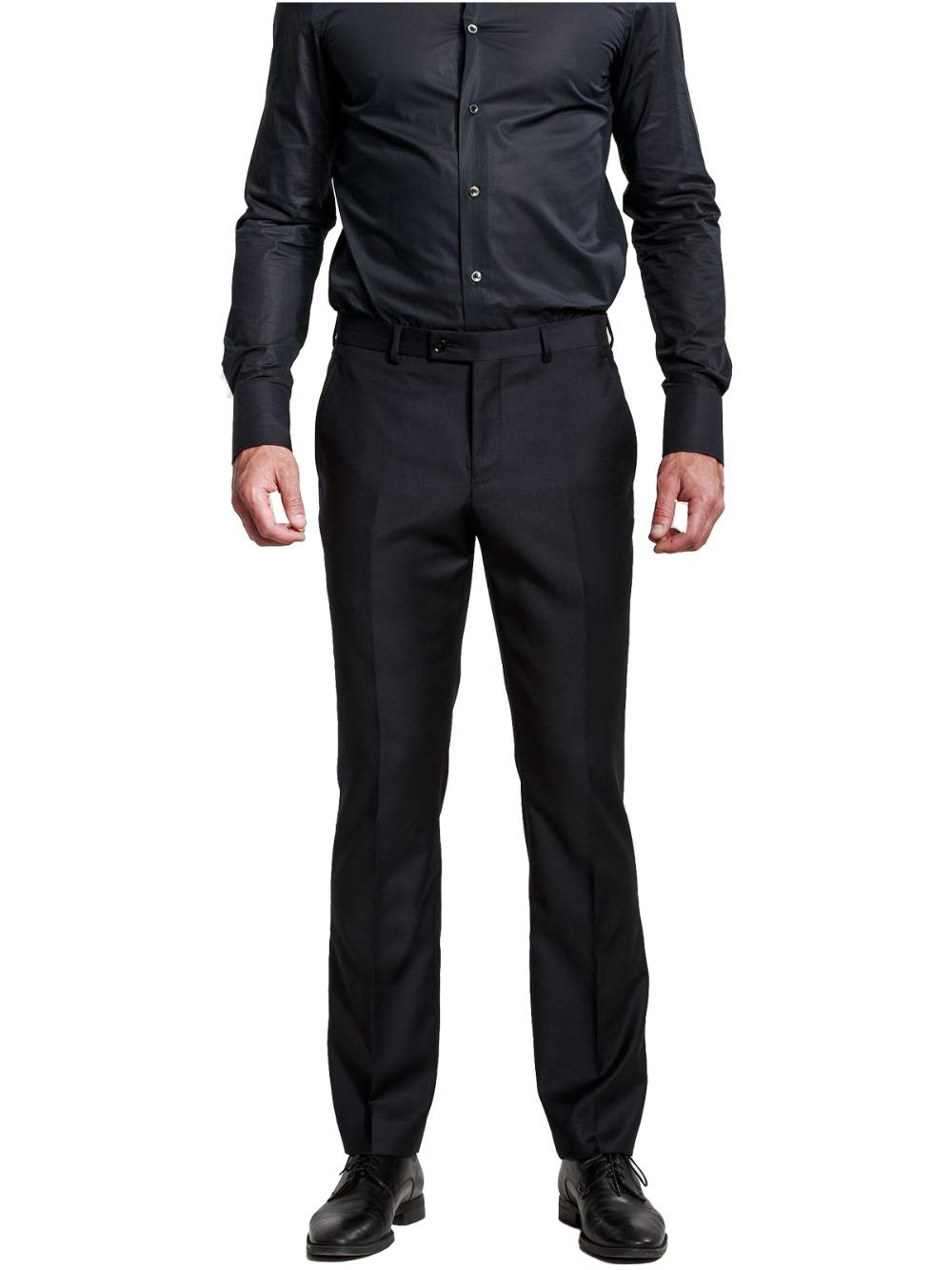ceda2db4c788 Men's Black Suit Separate Pants Flat-Front Straight Slim-fit Pants With  Fashion Style For Business Male Leisure Suit