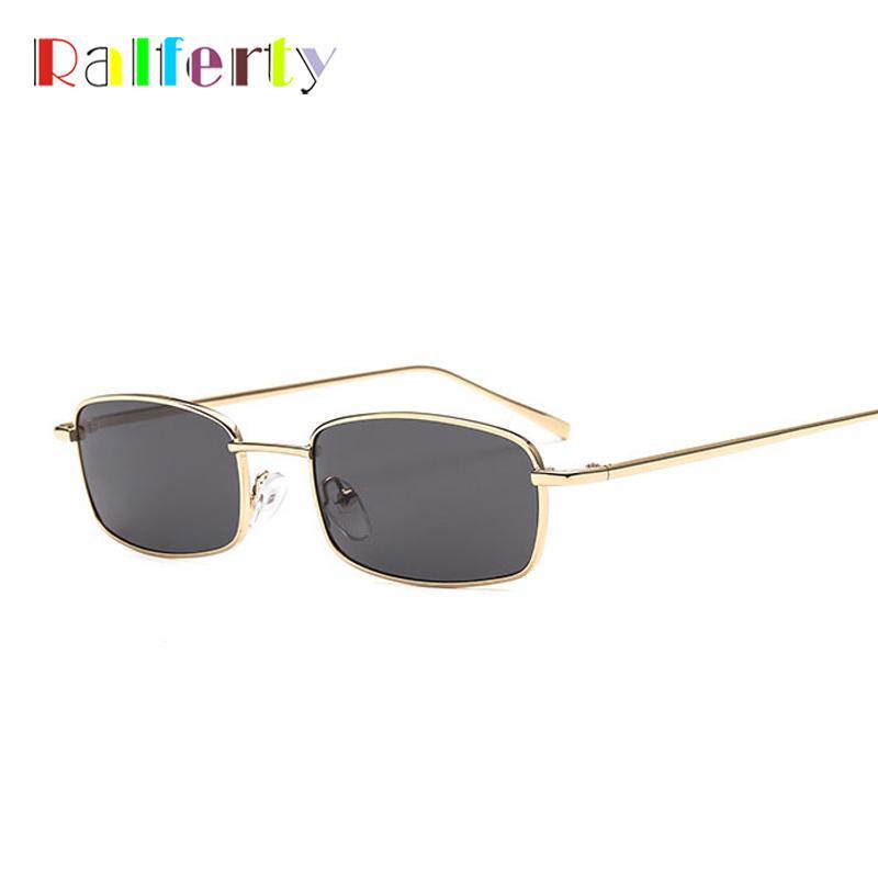 21bf35e14fe5f Compre Ralferty Fino Pequeno Retângulo Óculos De Sol Das Mulheres De Metal Quadrado  Óculos De Sol Dos Homens De Ouro Preto Óculos Vintage Retro Óculos De ...