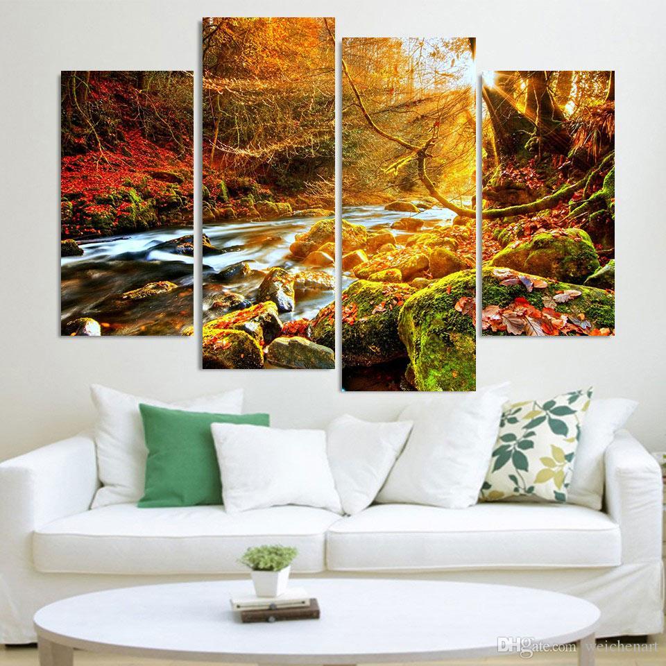 4 Adet Tuval Boyama Sunlight Salon Nehir Şelale HD Baskılı Dekorasyonda Duvar Sanatı Ev Dekorasyonu Poster Resimleri