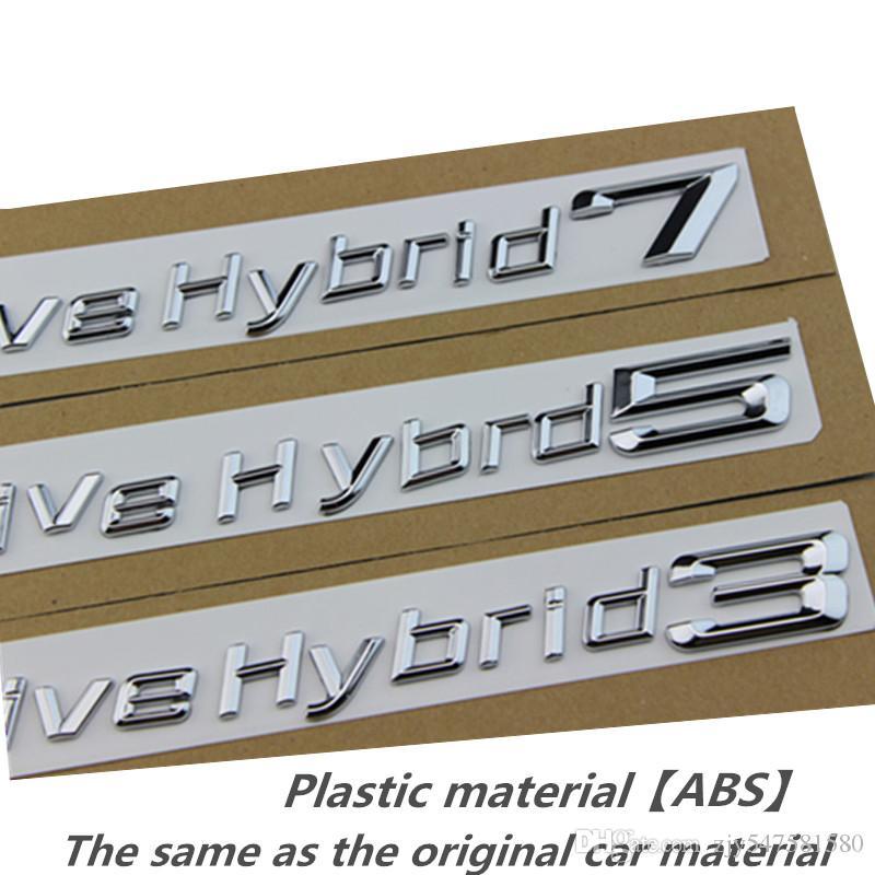 Nouveau 3D Chrome Argent et Noir Actif Hybride 3 5 7 Coffre Couvercle Arrière Emblèmes Badge Noir Lettres pour BMW 3-5-7 Série