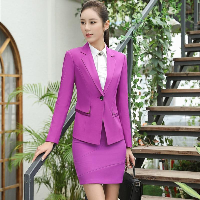 2018 Novelty Purple Slim Fashion Blazers Suits With Jackets And