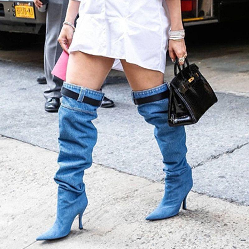 785702cf8 Compre Prova Perfetto Superstar Runway Botas De Jeans Altos Sexy Punta  Estrecha Tacones Altos Sobre La Rodilla Botas Mujeres Denim Muslo A  126.36  Del ...