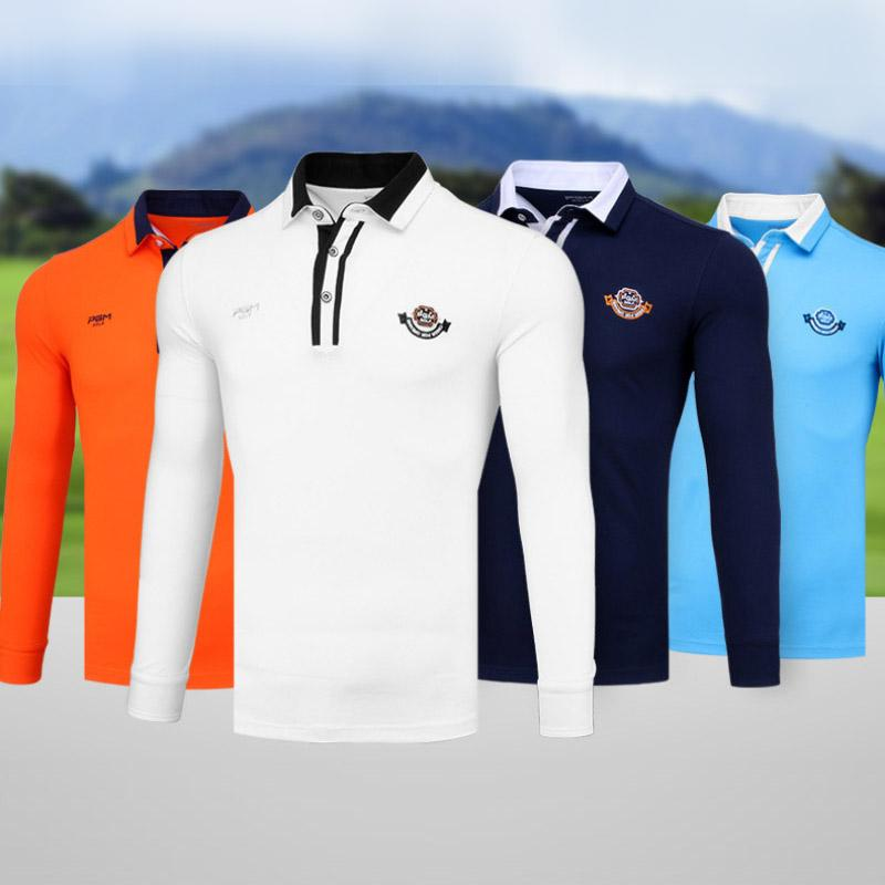 c51dade90 2019 New Mens Golf T Shirt Polo Cotton Golf Shirts Fitted Elastic ...