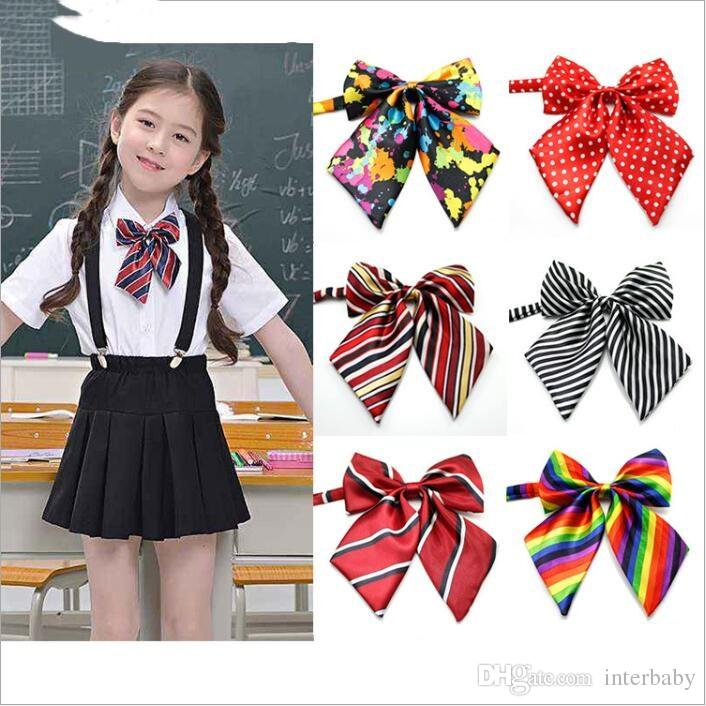 Baby Ties Primary School Girls Bow Tie School Uniform Photo Neckties Kids Stripe Polka Dots Neck Ties Boys Tuxedo Fashion Accessories B3953 Funny Ties Baby