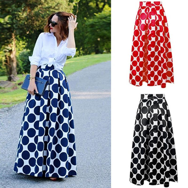 578522727 2019 lunares de cintura alta de la vendimia impreso falda maxi casual  casual elegante falda larga falda plisada falda de las mujeres faldas  largas ...