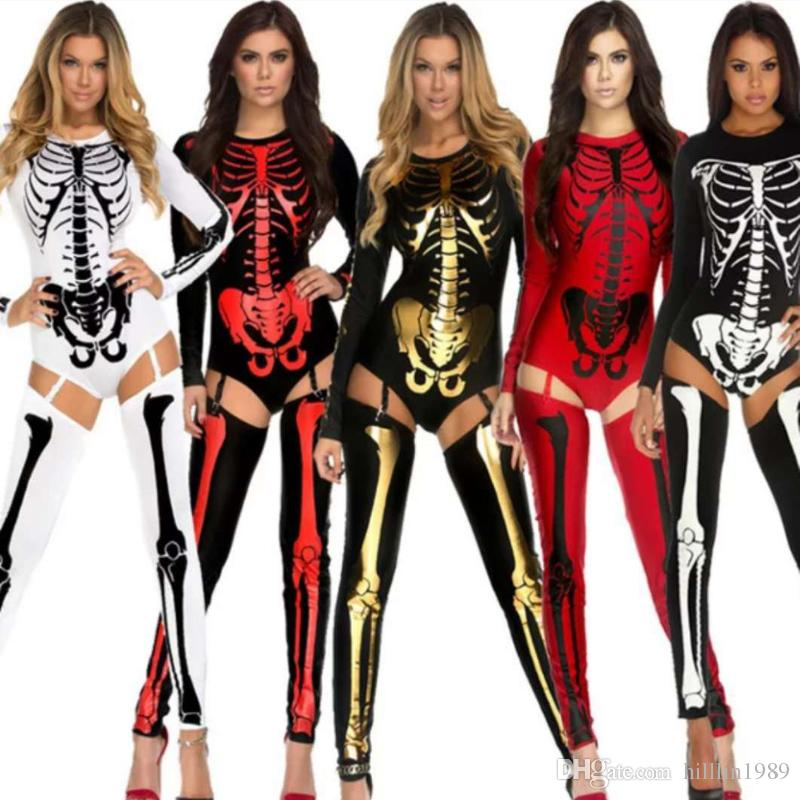 66e5ef7d4266 Sexy Vampire Bride Witch Halloween Cosplay Costume Horror Skeleton ...