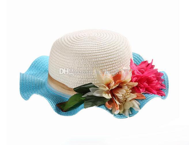 Kids Sun Hats Baby Flower Caps Kids Straw Fedora Hat Baby Girls Sun Hat candy color Children Summer Beach Hat Caps