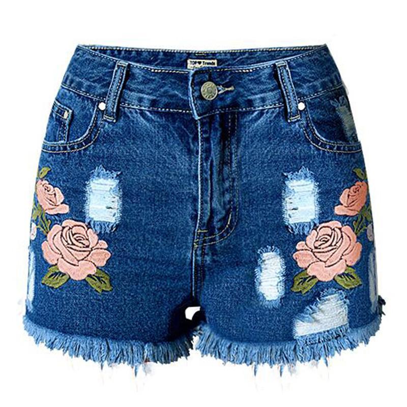 0696534771 Compre MORUANCLE Jeans Cortos Bordados Con Flores De Las Mujeres De La Moda  Pantalones Cortos Vaqueros Rasgados De Verano Con Bordados Florales Shorts  Jean ...