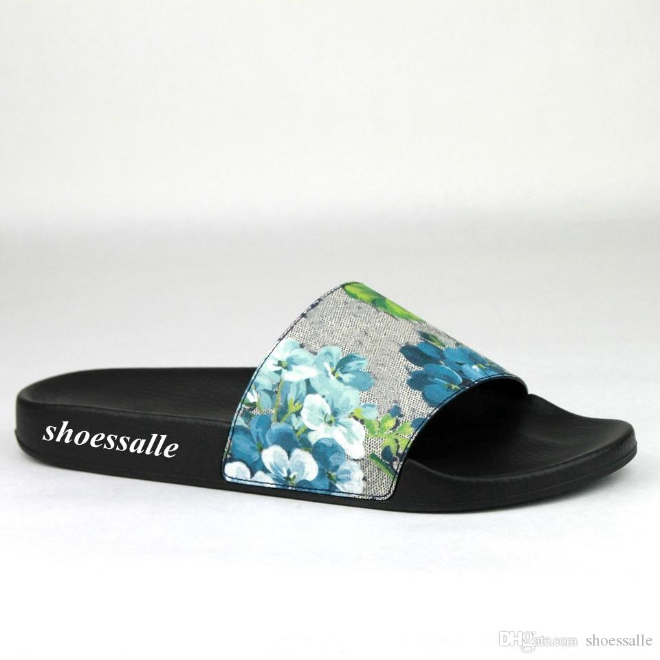 de5c18e68ad8 2018 Mens And Womens Blue Flower Blooms Slide Sandals Flip Flops With  Rubber Sole Size Euro 35 45 Sandals For Men Jelly Sandals From Shoessalle
