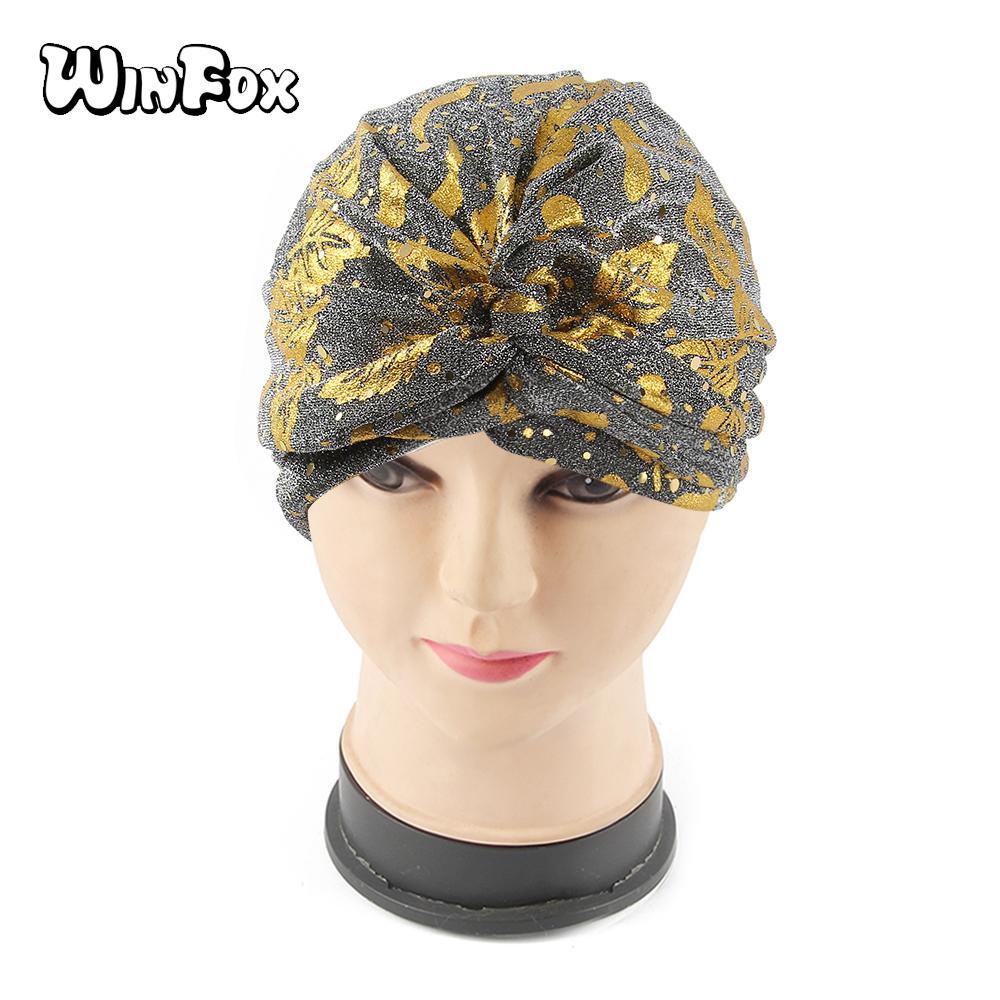 Winfox New Black Gold Grey Women Hat Cancer Chemo Hat Beanie Scarf