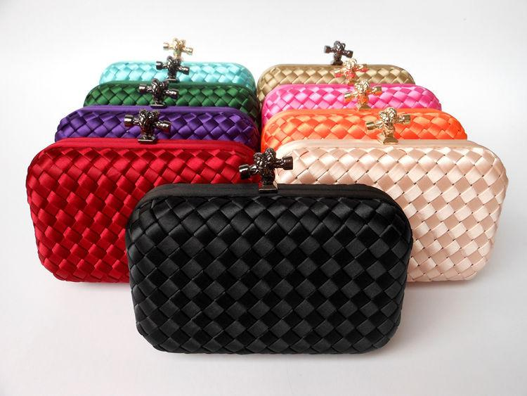 4d520f6a31 Fashion Woven Solid Evening Clutch For Women Weave Casual Party Flap  Handbag Fit Dress Crossbody Shoulder Bag Metal Chain Hasp