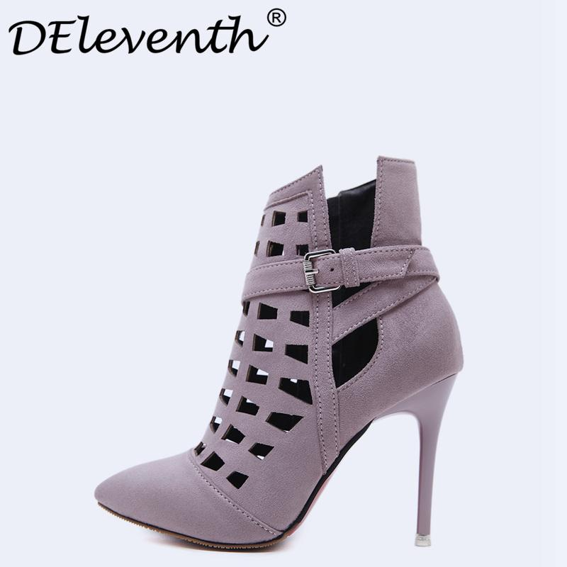 f0492e31192 Fashion Sexy Women Wedding Boots Black Gray High Heels Boots Lady Shoes  Stiletto Pointed Toe Cut Outs Zipper Ankle Bootie Cheap Football Boots Army  Boots ...