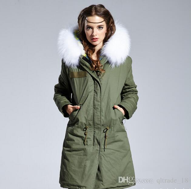 Beauitful blue lattice Cotton wool lining army green canvas long women parkas with white raccoon fur ykk zipper