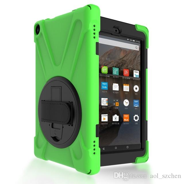Hybrid Tablet Case For Kindle Fire HD8 2016 2017 8.0 Shockproof Defender Armor 360 Degree Heavy Duty Cases with hand strap AT01