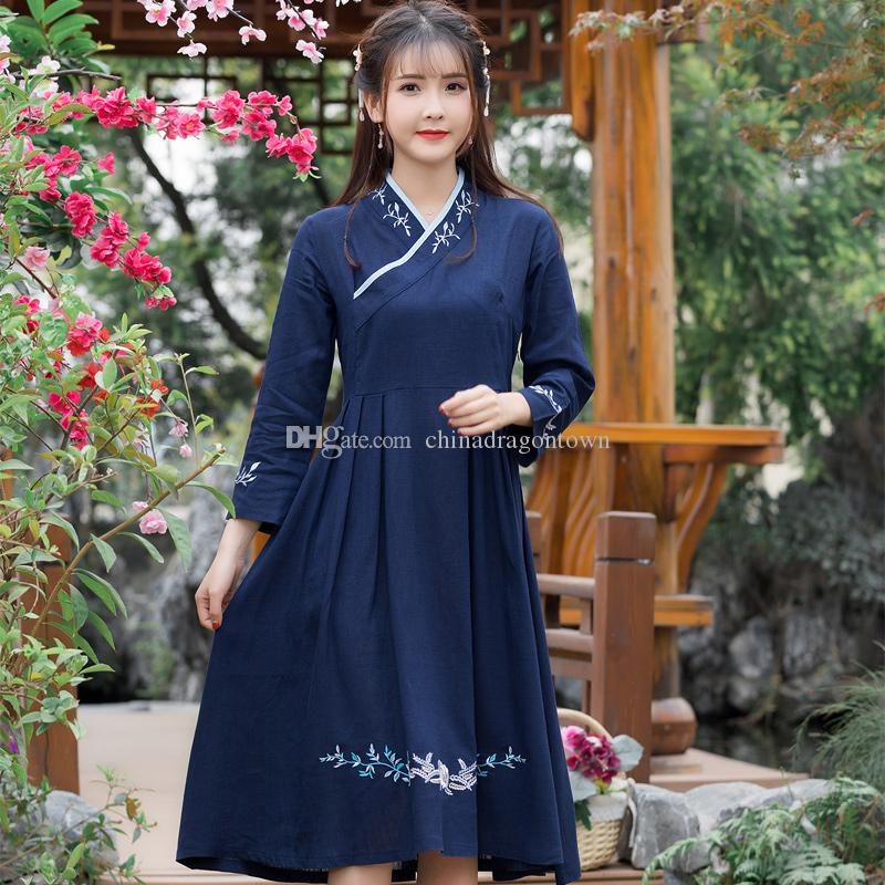a0a6b68948d1 2019 Women Stage Wear Elegant Tang Suit Hanfu Dress For Summer Chinese  National Women Clothing Ancient Traditional Chinese Folk Dance Costumes  From ...