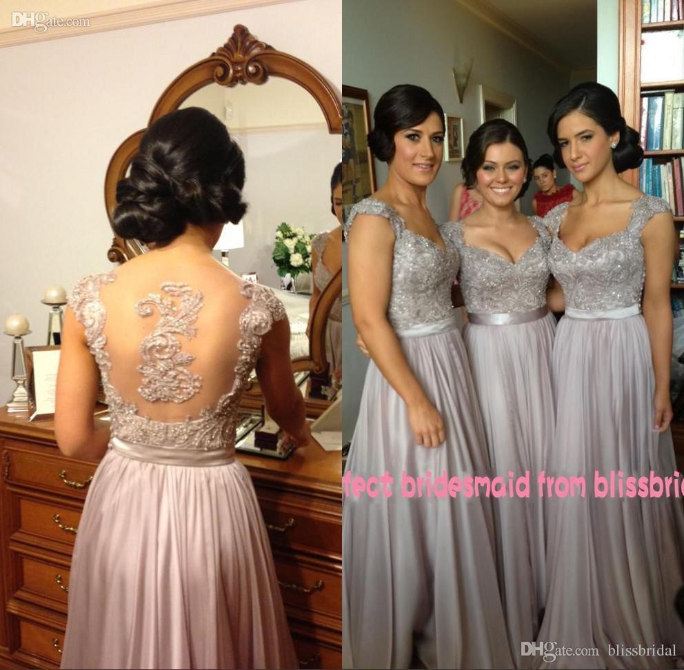 Hot V-Neck A-Line Cap Sleeve Chiffon Lace Beaded Cheap Bridesmaid Dresses Free Ship Embroidery Applique Evening Dresses Wedding Guest Dress