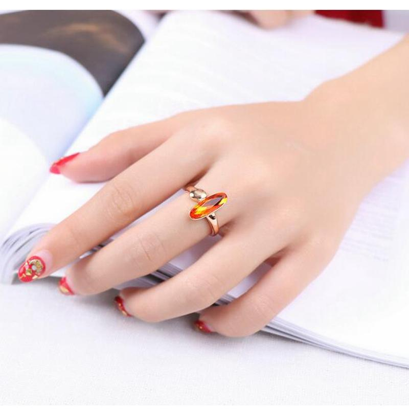 Brand wedding jewelry rose gold plating orange red gem ring manufacturer supply Lady Wedding Banquet Jewelry