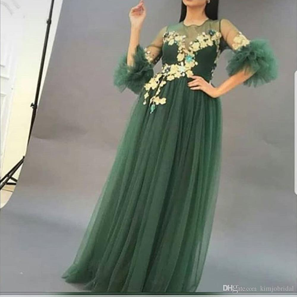 Green Evening Dresses 2018 Arabic Sheer Crew Neckline Half Sleeve Lace Appliques Tulle Floor Length Evening Gowns