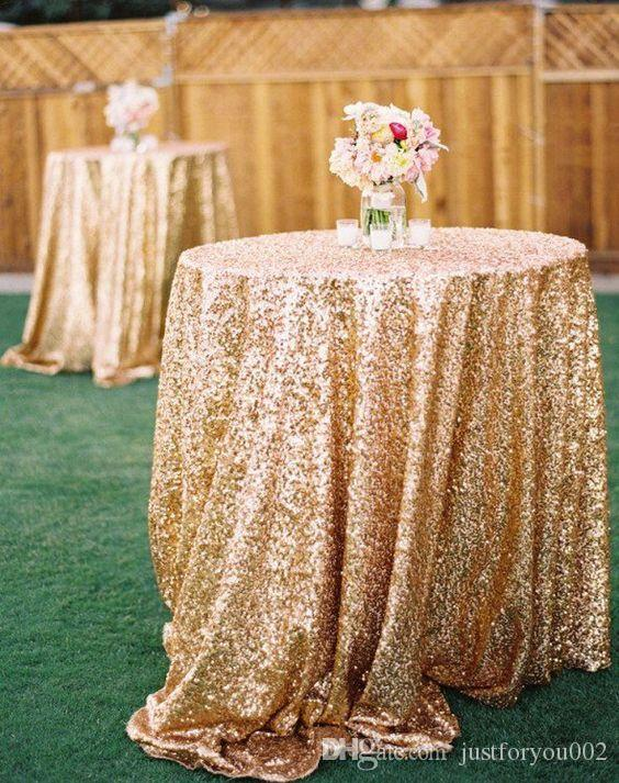 Custom Made rose gold Sequined Wedding Accessories For Tables and Chairs Several Colors High Quality Wedding Decorations In 1.2M*1M