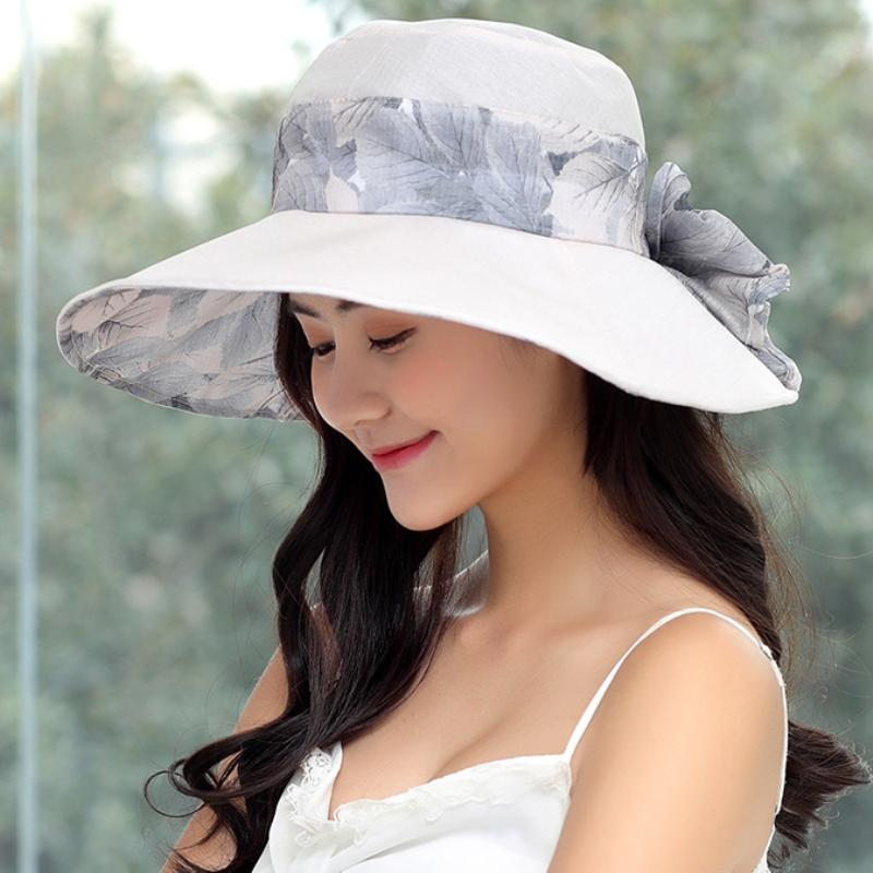 HT1635 2018 New Fashion Summer Hat Korea Style Flower Floral Print Women Hat  Packable Big Bow Wide Brim Ladies Beach Sun Wide Brim Hat Tea Party Hats  From ... b5202319d1b