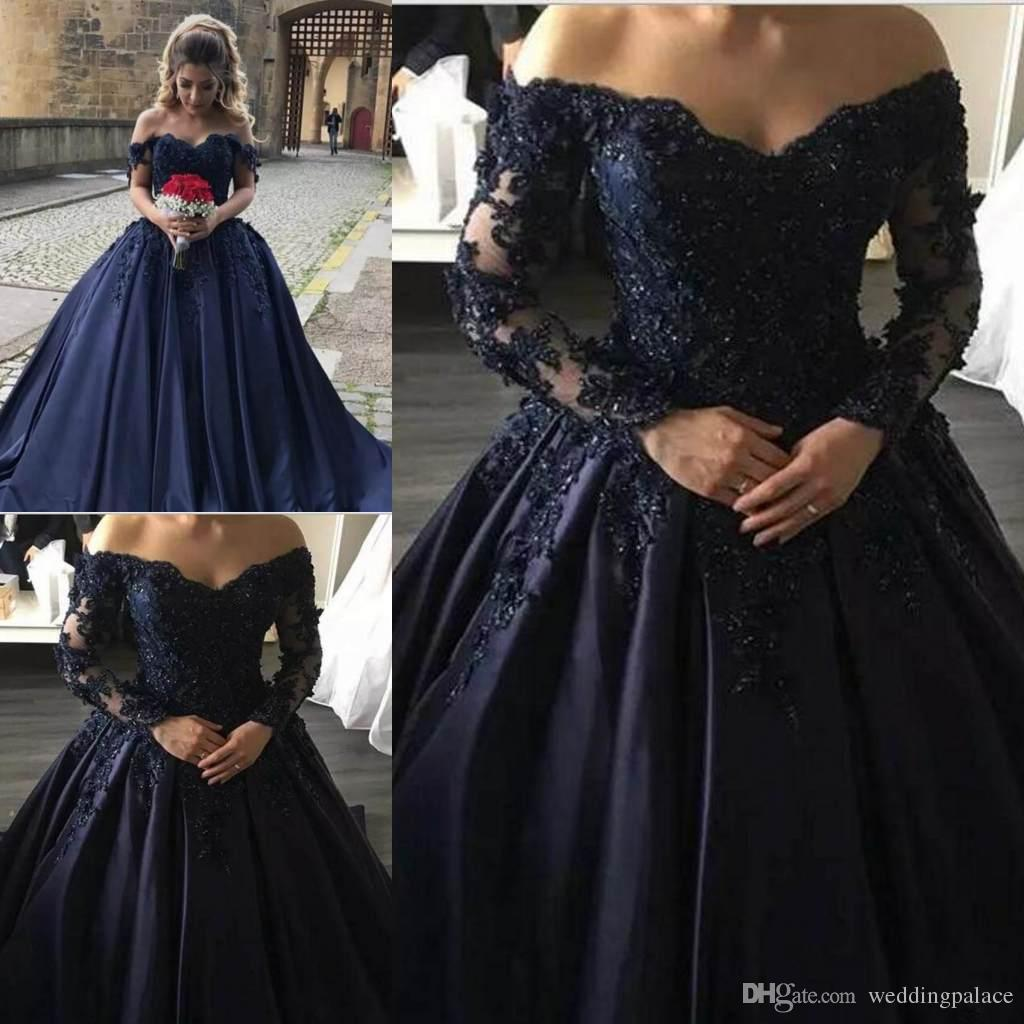 ad585a86aa77 Elegant Navy Blue V Neck Prom Dresses Lace Applique With Sweep Train Formal  Evening Dresses Wear Long Party Gowns Gowns Dresses Halter Prom Dresses  From ...