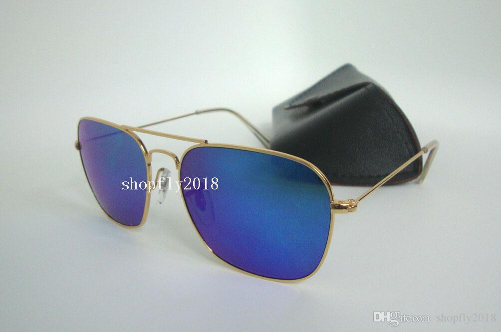 1Pair Rectangle Sunglasses For Mens Womens Metal CARAVAN Sun Glasses Eyewear Gold Blue 58mm Glass Flash Mirror Lenses With Black Case