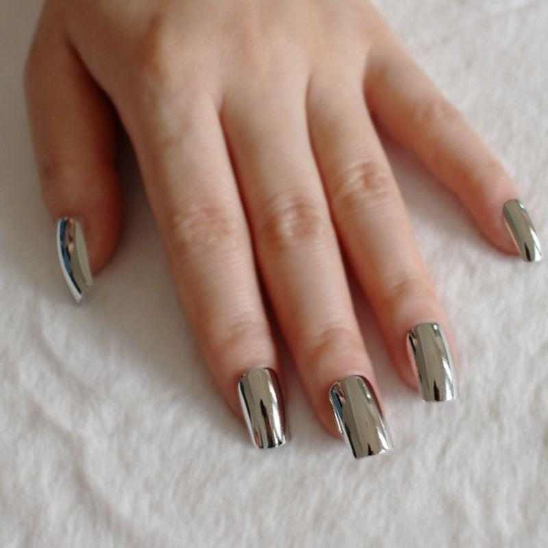 Metal Mirror Fake Nails Acrylic Charming Long Silver False Nails ...