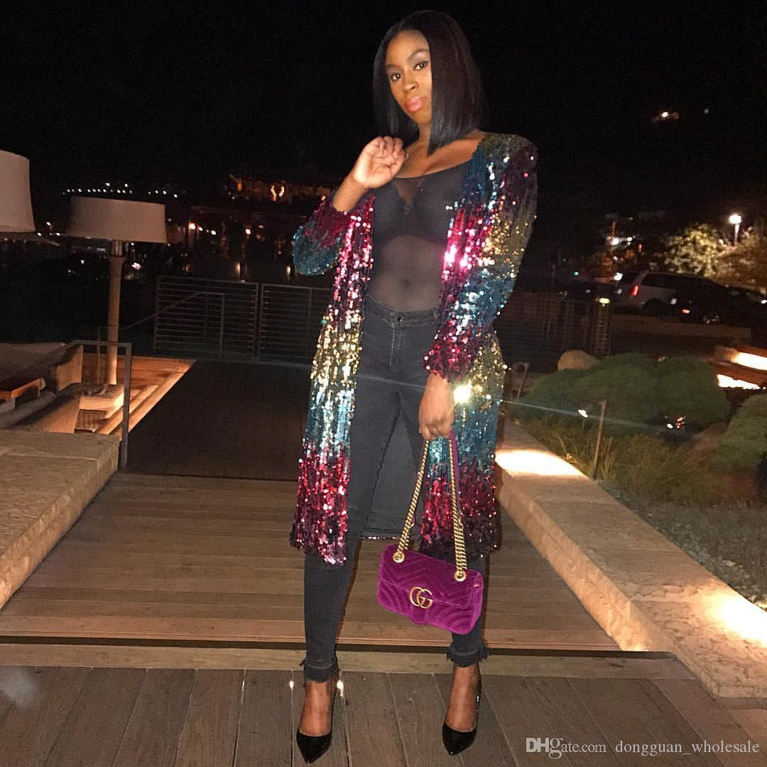 2018 New Designed Night Out Party Club Frauen Kleidung Sparkly Jacke Frauen Lange Mäntel Körper 9113