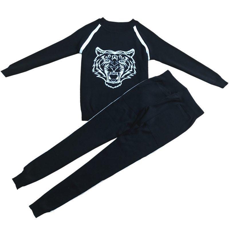 Compre Amolapha Mujer Suéteres De Animales Pantalones Largos Conjuntos De Manga  Larga Bordados Pantalones Trajes Para Mujer Elegante C18110801 A  56.2 Del  ... 75a637a6f665