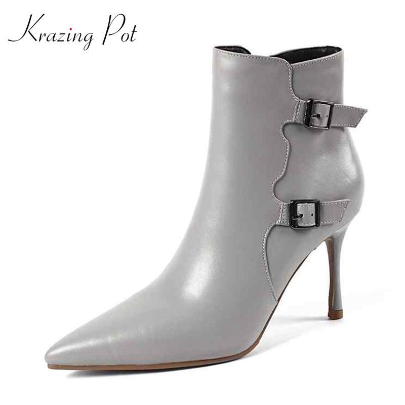 e3aeee448d43 Krazing Pot echtes Leder Stiletto High Heels Büro Dame grundlegende Stiefel  Stil große Größe spitz Schnalle Riemen Stiefeletten L23
