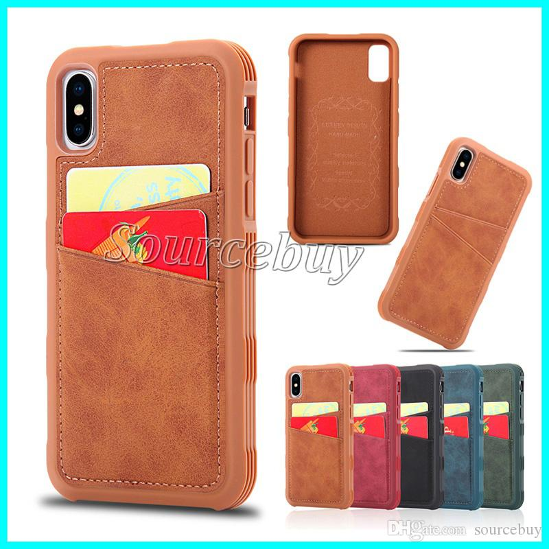 Support Credit Card Cover PU + PC Frame for iPhone 10 X Luxury Leahter Desigh High Quality Cases Phone Shell With 2 Card Slots