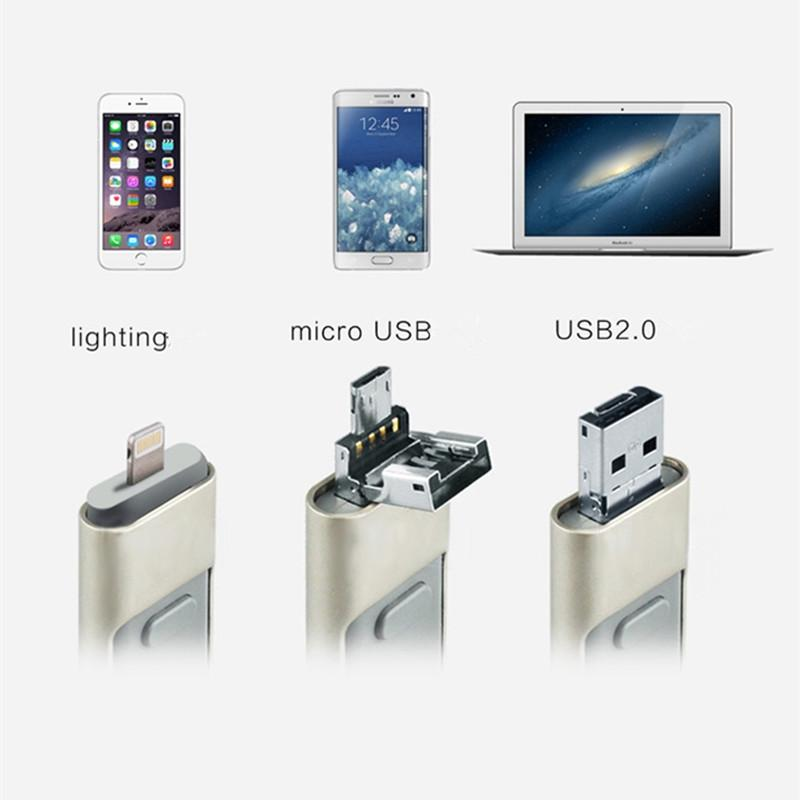 USB Flash Drive 32GB For iPhone iPad iPod iOS Android Storage  Multi-Functional 3 in 1 PenDrive OEM gift Custom Logo