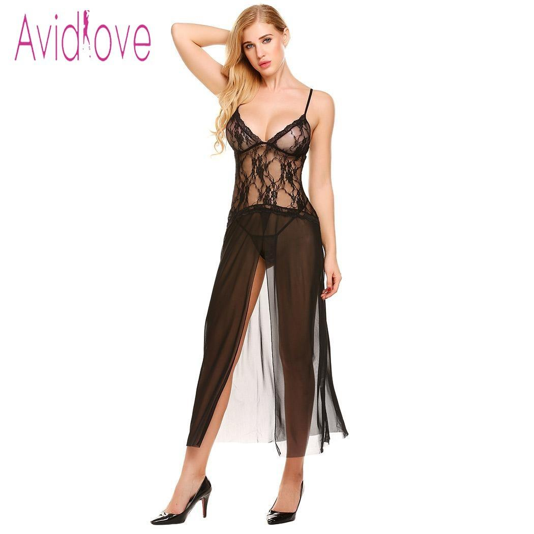 eb3de5d9a Avidlove Women Sexy Babydoll Lingerie Hot Erotic Slips Long Dress Nightgown  Teddy Exotic Underwear Mesh Intimates Exotic Apparel D18110801 Sexy  Nightwear ...