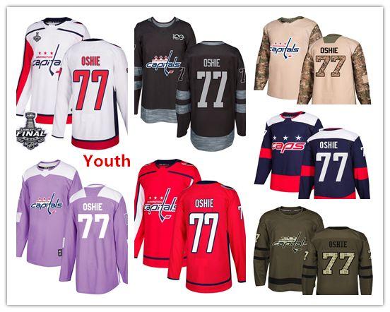 014e3dd78185 Youth Kids Child Capitals 77 T.J. Oshie Hockey Jerseys White Red ...