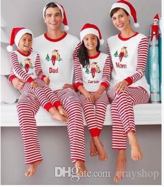 f7de3cdd92 Großhandel Weihnachten Kleidung Weihnachten Santa Weihnachten Familie Kinder  Frauen Männer Erwachsene Nachtwäsche Pyjamas Set Striped Cotton Pyjamas  Outfits ...
