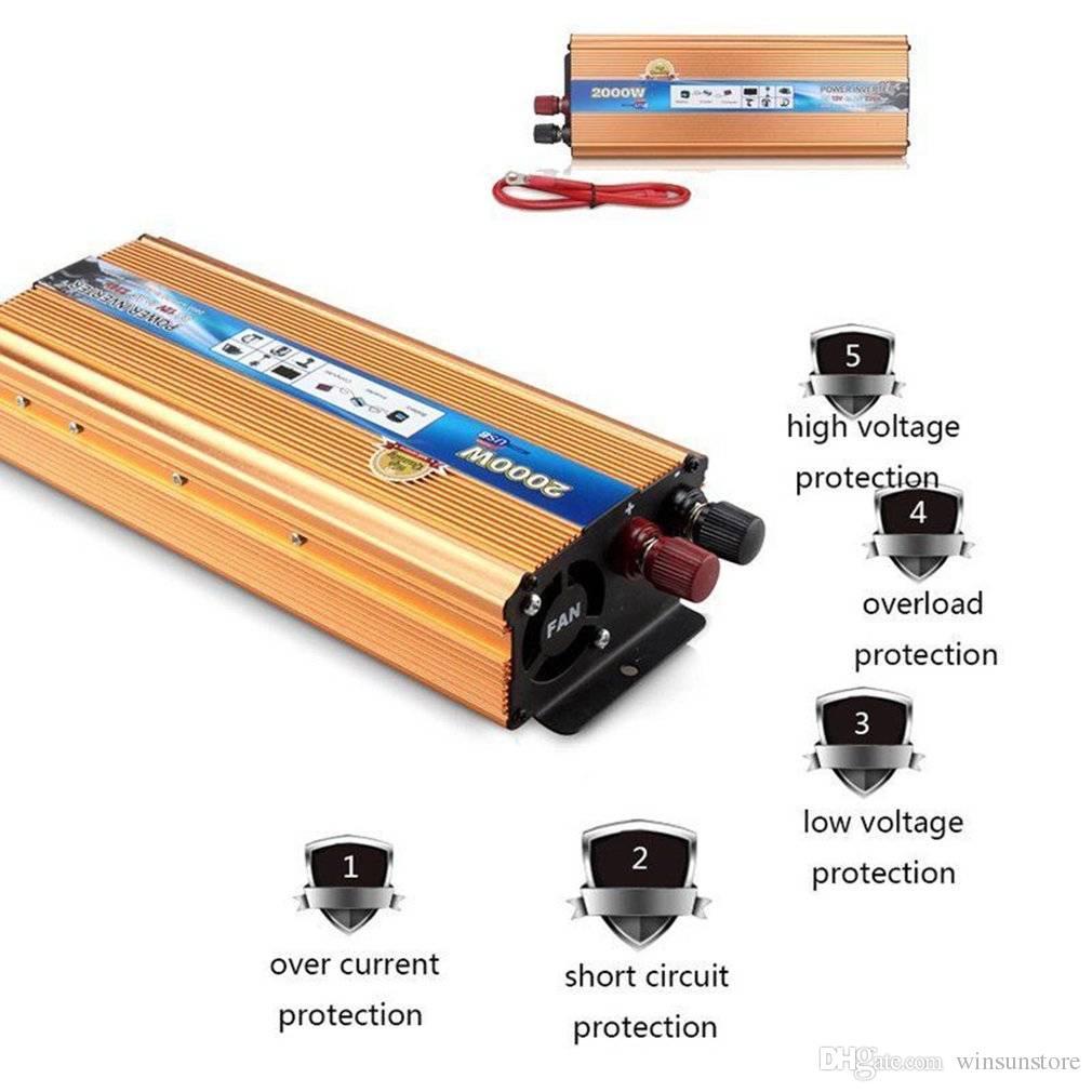 Wechselrichter 2000w-4000w Dc12v To Ac220v Portable Car Power Inverter Charger Converter Usb Fe Photovoltaik-zubehör