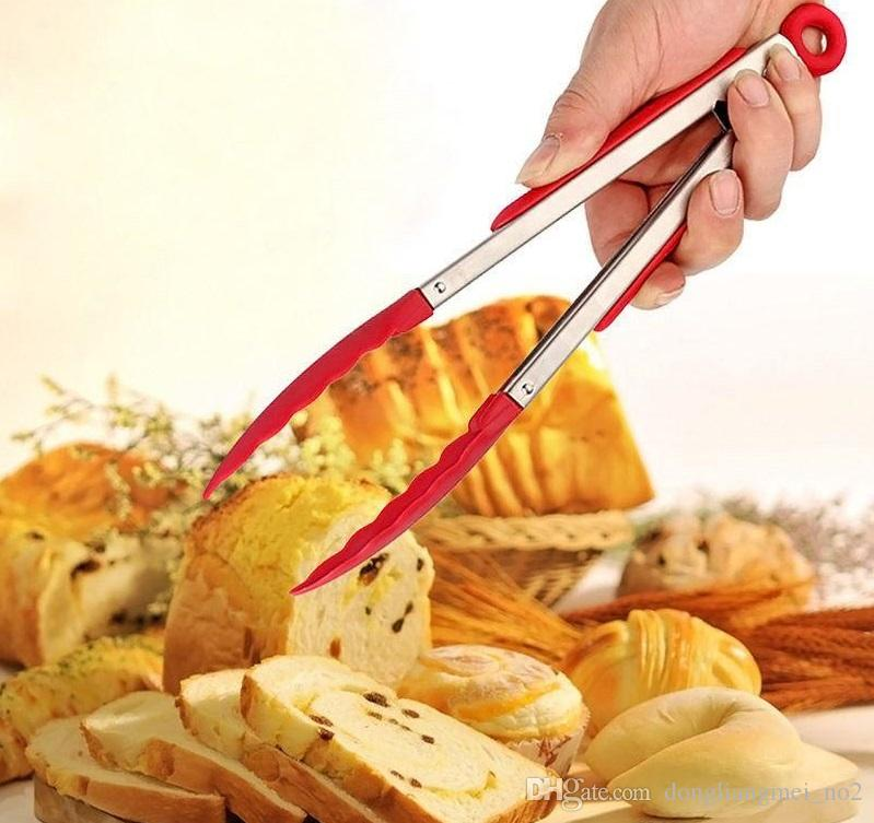 DLM2 anti-burn Silicone Cook Salad bread meat Serving BBQ Ice Tongs Stainless Steel clips Handle Kitchen Tools wn034
