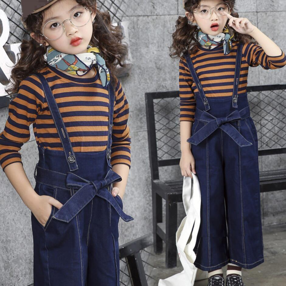 4a0016170 2019 2018 Fashion Casual Toddler Teenage Girls Clothing Sets Striped ...