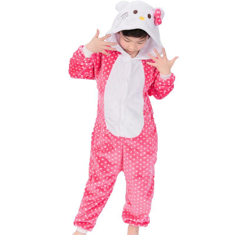 2cf11fce1d 2017 Girls Pajamas Flannel Hello Cartoon Animals Cat Pyjamas For Girl Kids  Winter Cheap Baby Pajamas Children  S Sleepwear Baby Fun Kids Pajamas  Children ...